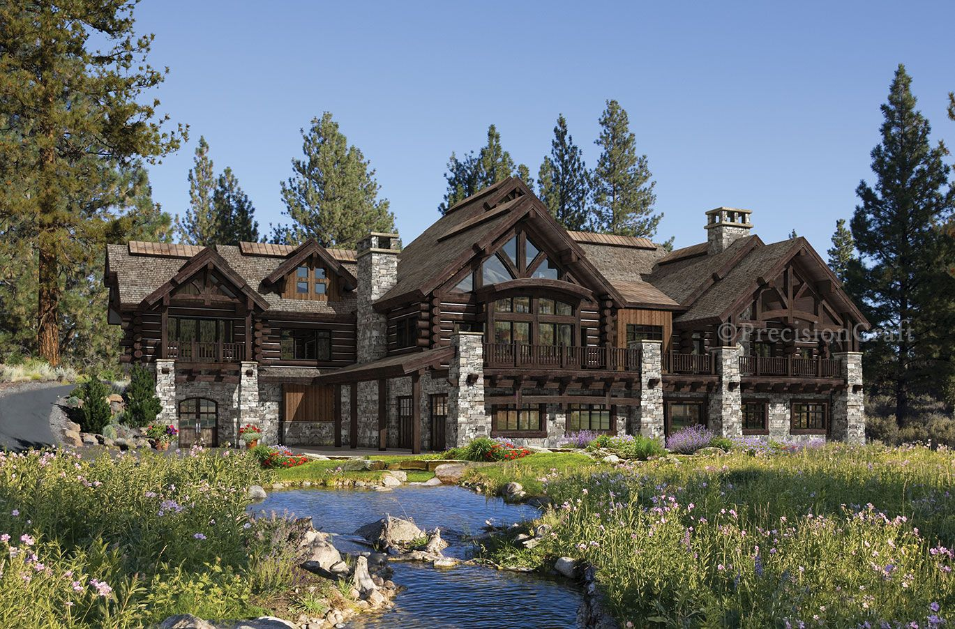 Buffalo creek log home mountain style design for Luxury log home