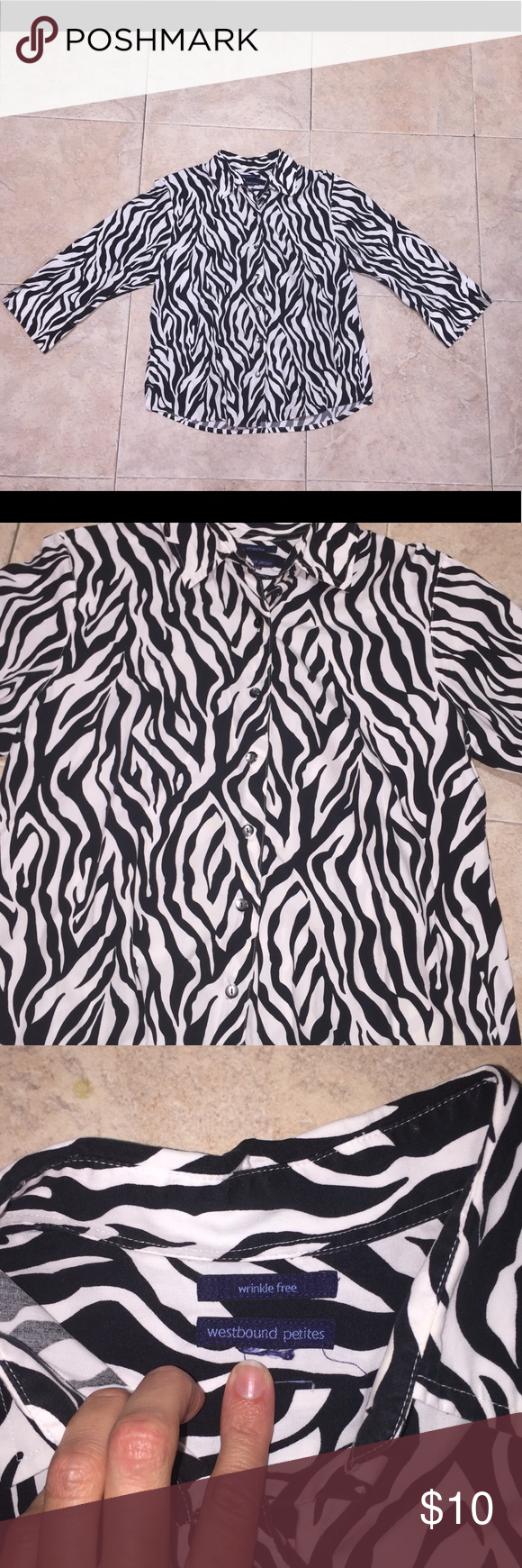 cabdc7f5c1b Petite Black White Zebra Stripe Blouse Westbound Petites Black White Zebra  Striped Abstract Wrinkle Free Dressy Button Up 12 Petite Blouse Business  Casual ...