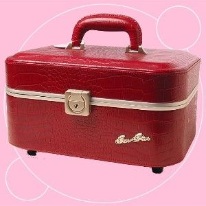 Two Five Jewelry Case Lipstick Red Croc Train Case by Two