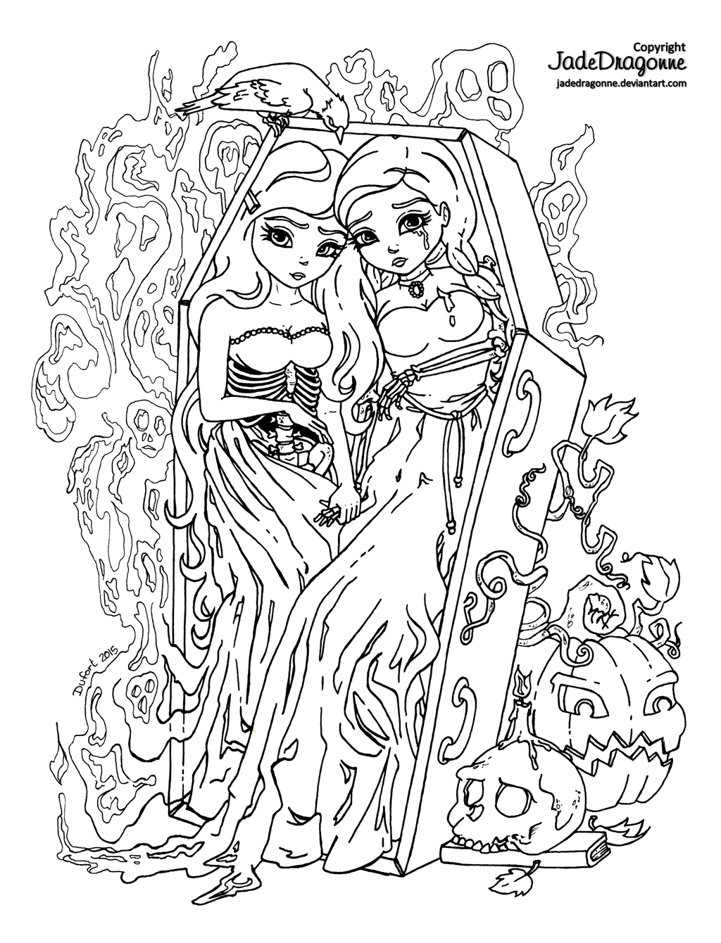 Coloring pages for halloween coloring contest - The Twins 2015 Halloween Coloring Contest By Jadedragonne Deviantart Com On Deviantart