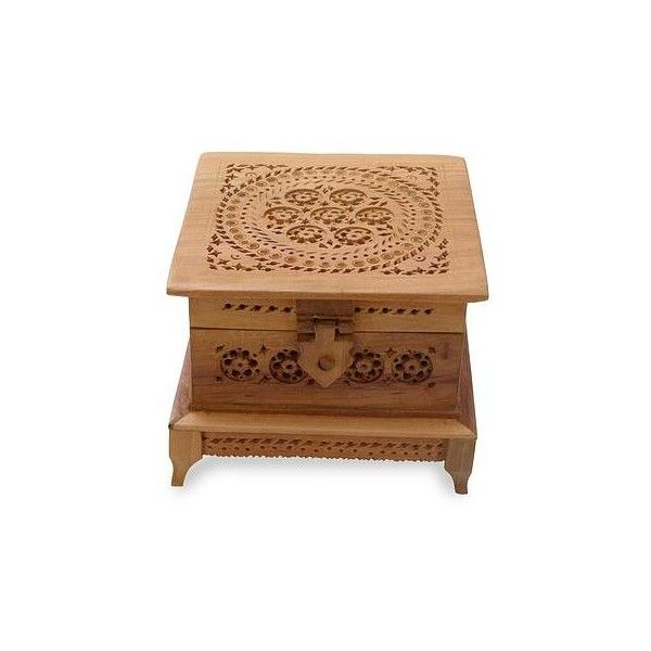 Small Decorative Boxes With Lids Novica Indian Hand Carved Jali Style Wood Box 81 Cad ❤ Liked On