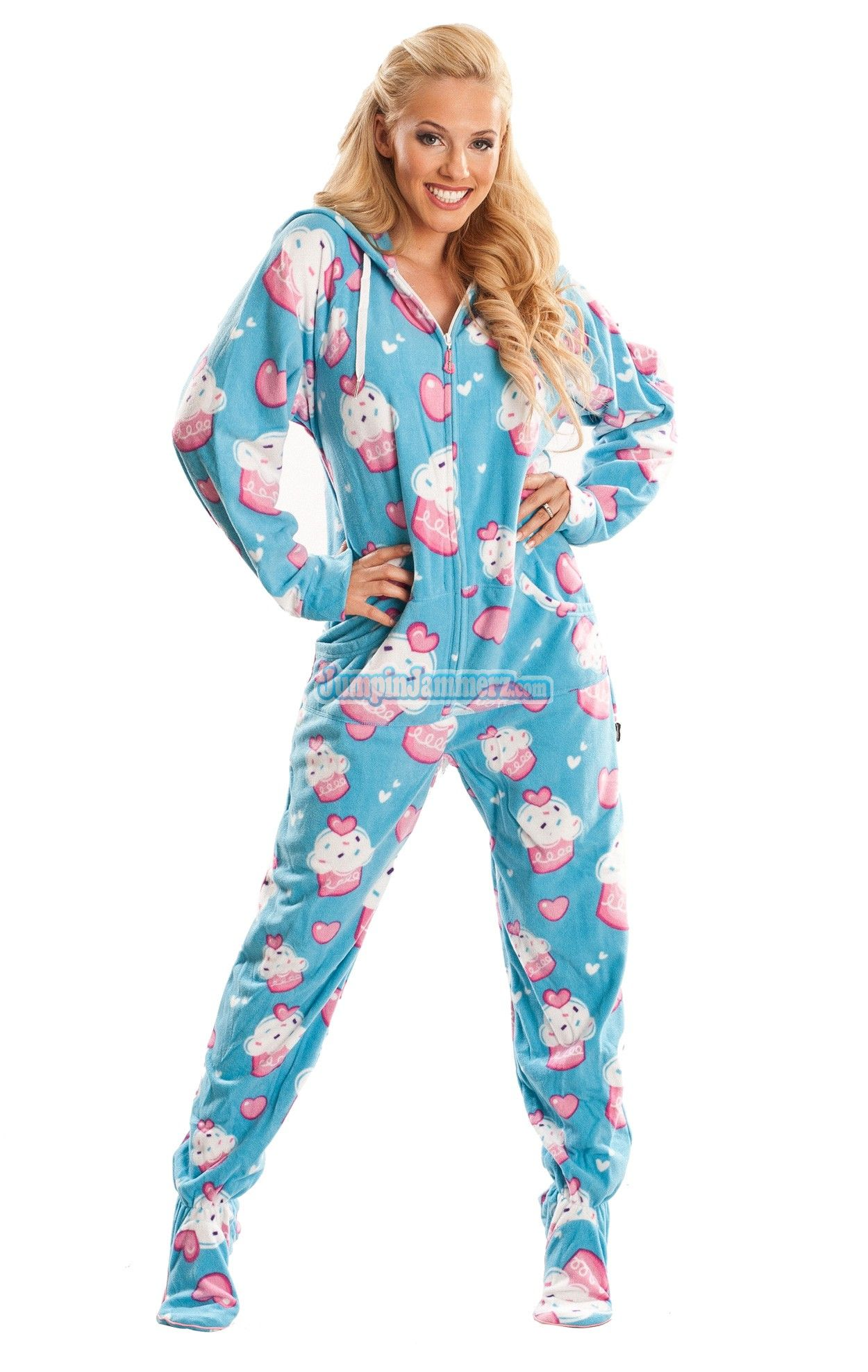 cup cakes hooded footed pajamas pajamas footie pjs. Black Bedroom Furniture Sets. Home Design Ideas