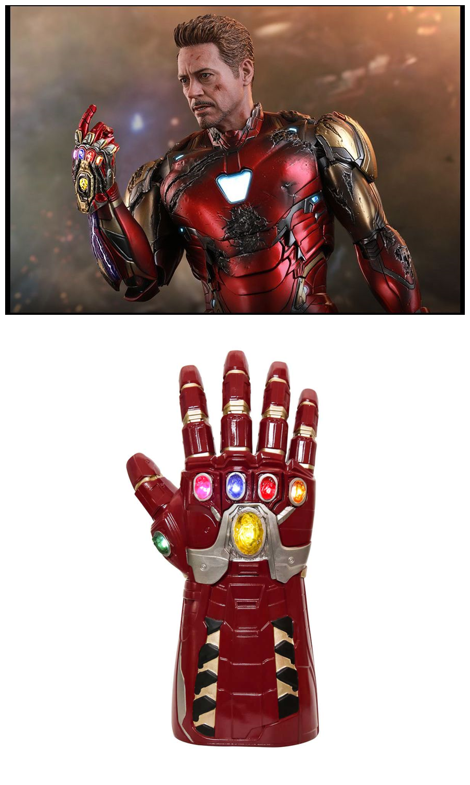 Avengers 4 Endgame Iron Man Tony Stark Red Led Gloves Light Up Infinity Gauntlet Replica Takerlama Avengers Iron Man Tony Stark Iron Man