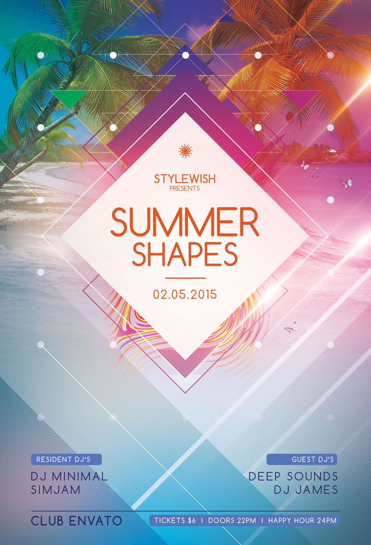 Poster design template psd - Summer Shapes Flyer Template Download Psd File 6