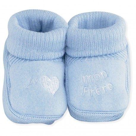 394a25b10bc0e Découvrez notre paire de chaussons pour bébé à revers bleu