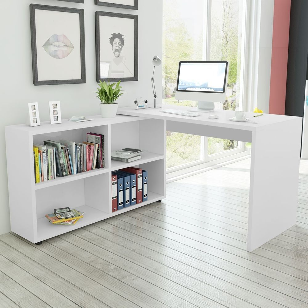 bureau d 39 angle avec 4 tag res blanc table de travail table d 39 ordinateur en 2019 maison. Black Bedroom Furniture Sets. Home Design Ideas
