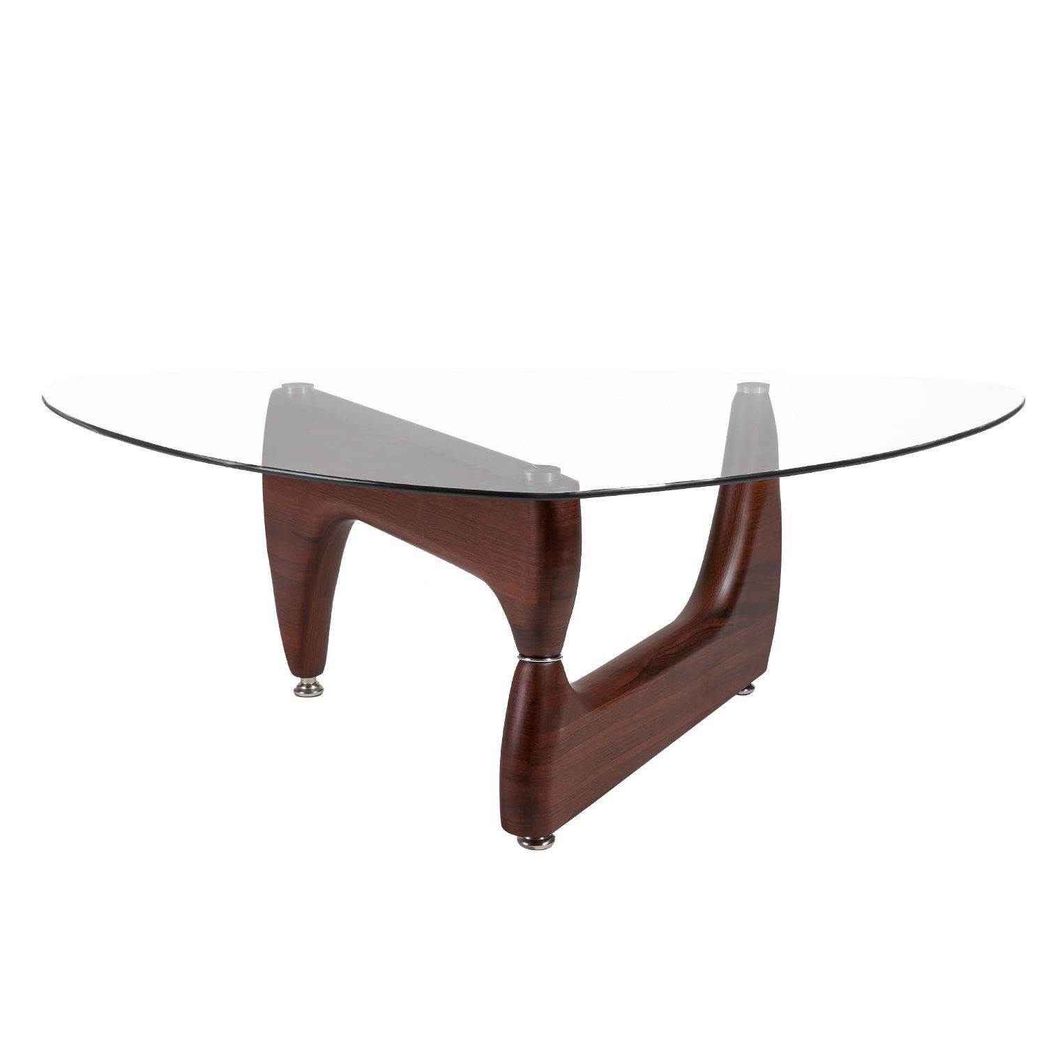 Merax Isamu Noguchi Style Coffee Table With Gl Top And Hardwood Legs Espresso