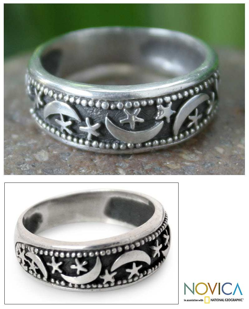 Novica Sterling silver flower ring, Magical Moon