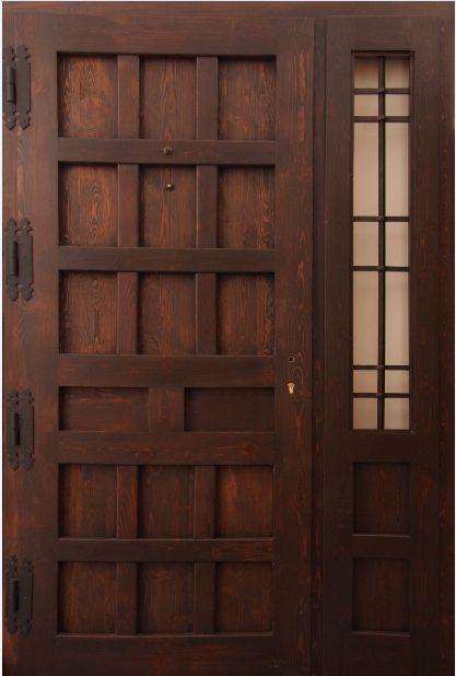 Puerta exterior en madera vieja hoja m s fijo for Modelos de puertas de calle