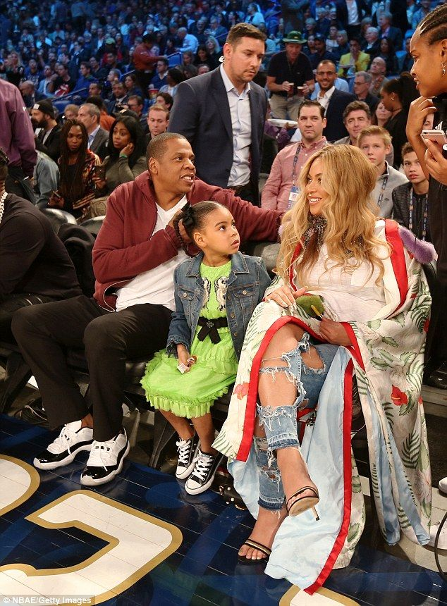 31f95ef7f916e5 Family first  Beyonce was pictured sitting courtside at the 2017 NBA All-Star  Game in New Orleans