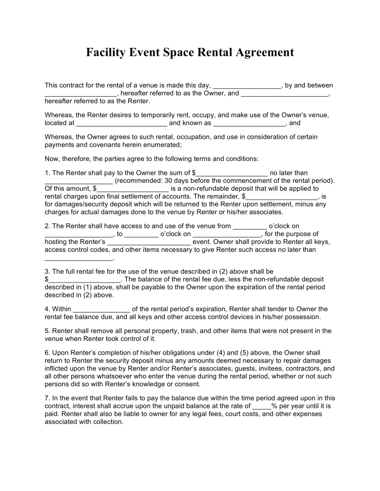 Free Event Facility Space Rental Agreement Template Pdf