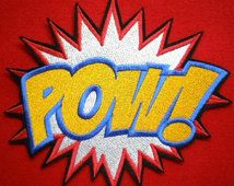 Extra large embroidered pow super hero cartoon applique patch iron