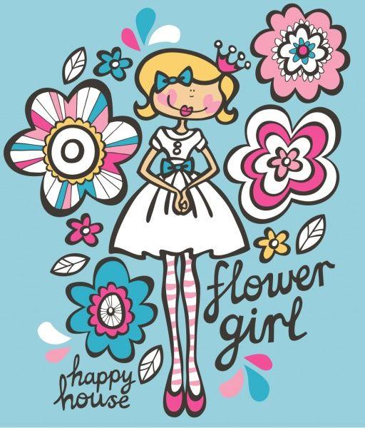 Flower Girl Illustration Happy House In 2018 Pinterest