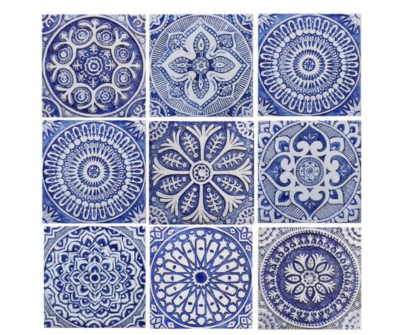 Outdoor Wall Art SET OF 9 TILES Garden Decor Ceramic Tiles Glazed In Blue And White Moroccan Spanish