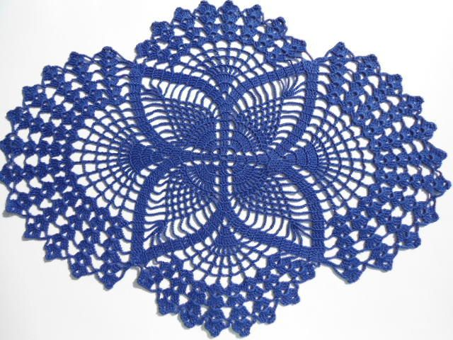 Crochet doily ,dark blue, oval doilies , lace ,home decor ...