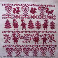 Red xmas cross stitch chart