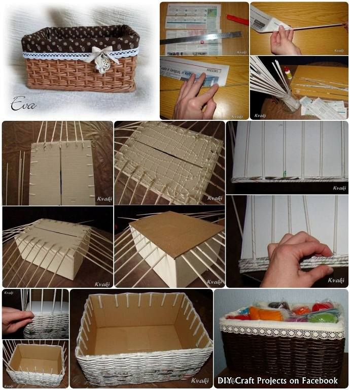 Handmade woven basket made with newspaper and a shoe box for Reuse shoe box ideas