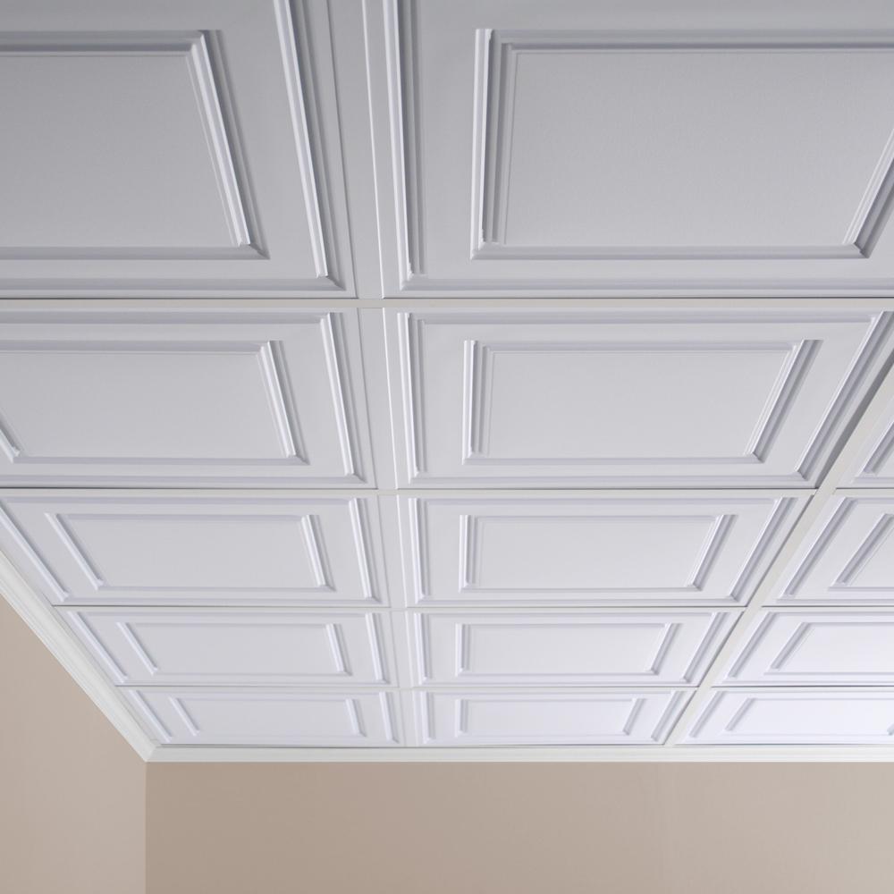 Ceilume Stratford Feather Light White 2 Ft X 4 Ft Lay In Ceiling Panel Case Of 10 V1 Stratf 24wto Ceiling Panels Basement Renovations Finishing Basement