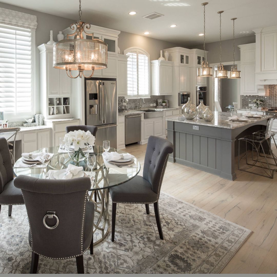 Chairs, cabinets, lights, counters, decor   White kitchen design ...