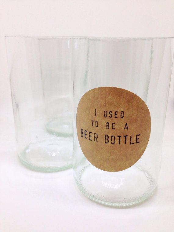 Drinking Glass Set   Upcycled Beer Glass Tumblers Set by mymanoa, $17.85