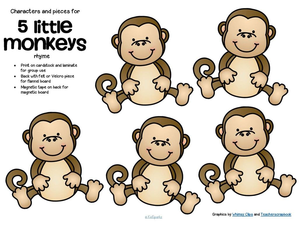 free characters and pieces for 5 little monkeys jumping on a bed rhyme in color and bw use for group teaching and individual activity 4 pages