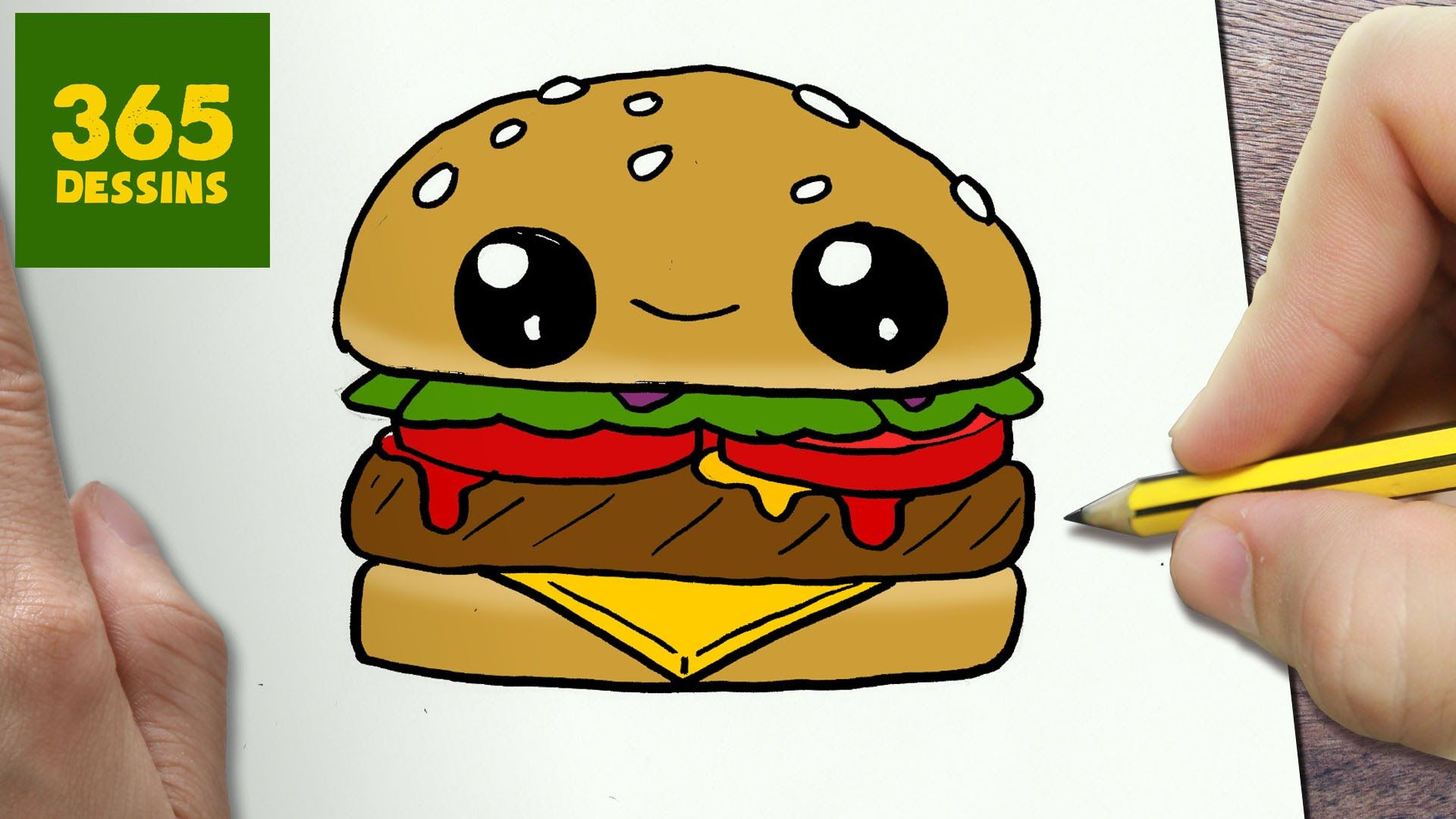 comment dessiner hamburger kawaii tape par tape. Black Bedroom Furniture Sets. Home Design Ideas