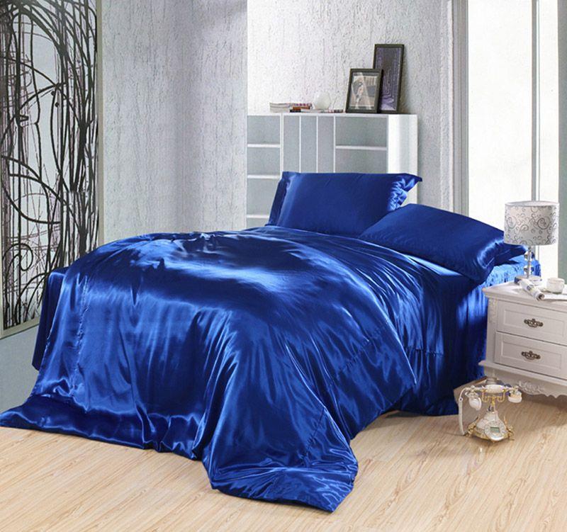 Pure Enjoyment Royalblue Silk Bedding Silk Duvet Cover Set Blue Bedding Sets Blue Bedding Satin Bedding