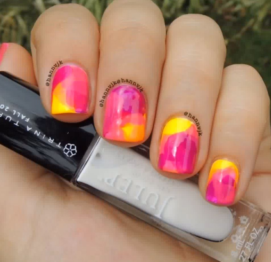 Hannvjk Blended Tie Dye Nails Nails Bags 3 Water Color Nails