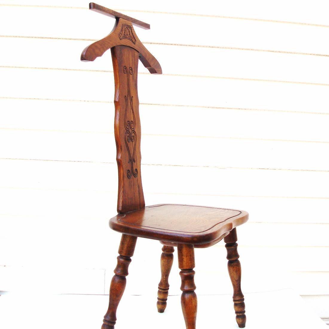 Vintage Wood Butler Chair Wardrobe Stand Wooden Valet Chair Hidden Pocket  Coat Rack by WhimzyThyme on Etsy #woodchair #valet #butler - Vintage Wood Butler Chair Wardrobe Stand Wooden Valet Chair Hidden