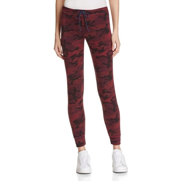 Sundry Camo Print Skinny Sweatpants ($105) ❤ liked on Polyvore featuring activewear, activewear pants, merlot, red sweat pants, camoflauge sweatpants, sundry sweatpants, camouflage sweat pants and slim sweat pants