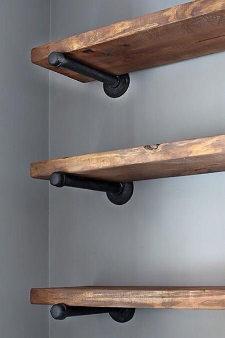 Wooden Shelves Floating Or Supports Like These For Long Wall Over