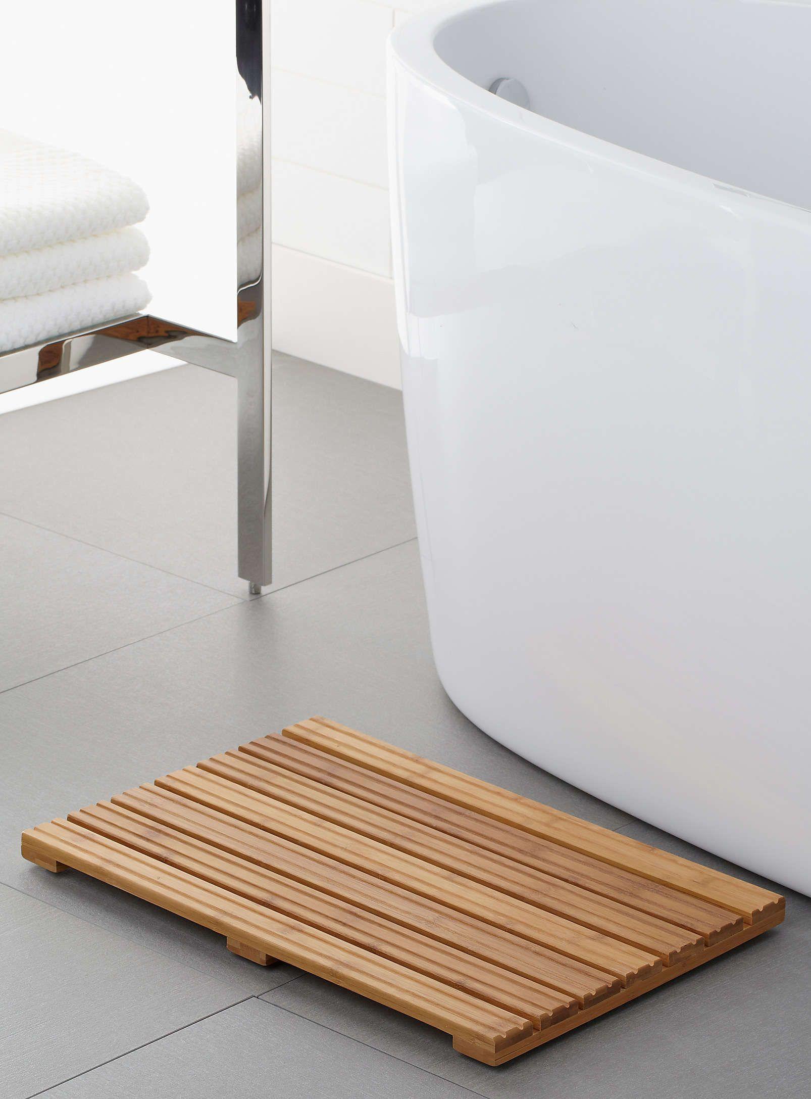 Salle De Bain Exterieur ~ le tapis bambou spa scandinave 14×21 pouces accessoires de salle