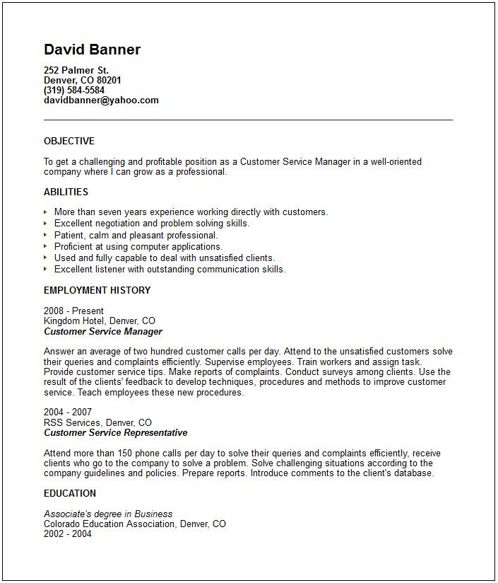 Guidelines For A Resume Customer Service Resume Examples  Httpwww.resumecareer .