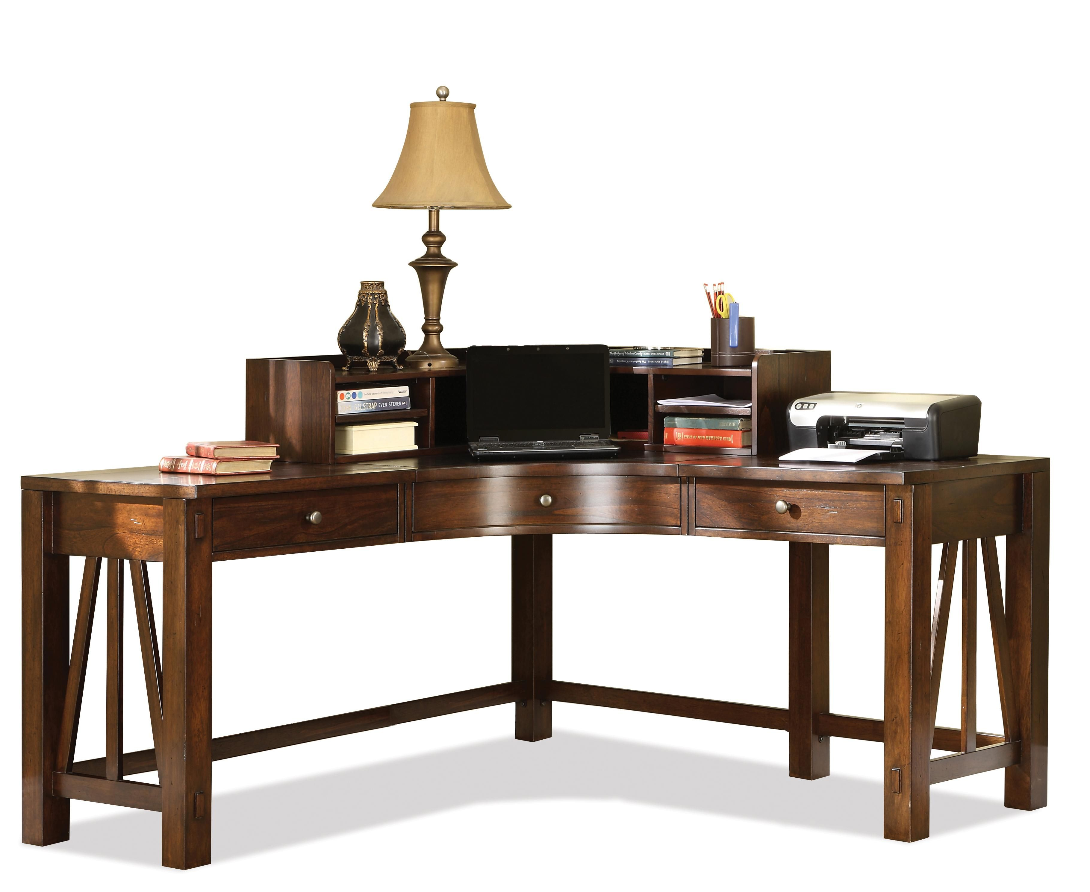 Castlewood Corner Desk with Curved Hutch by Riverside Furniture ...