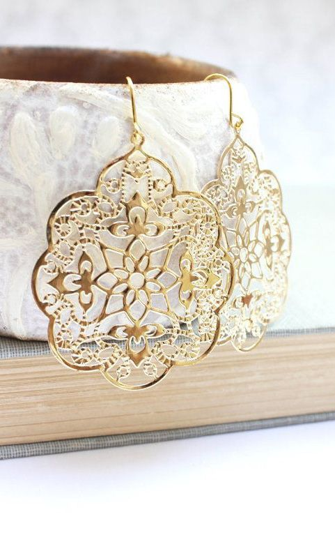 742062d7a29d Big Gold Earrings Lace Filigree Earrings Large Dangle Spanish Style ...