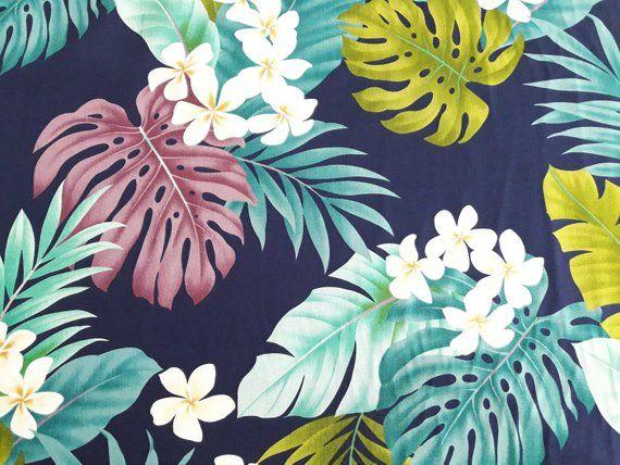 7d2f1b15 Navy Blue Hawaiian Print Fabric Palm Monstera Plumeria | Hawaiian ...