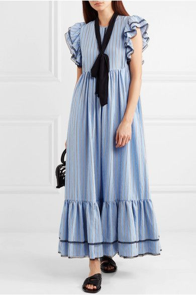 Belted Striped Poplin Maxi Dress - Blue Msgm vv5O1fNw6l