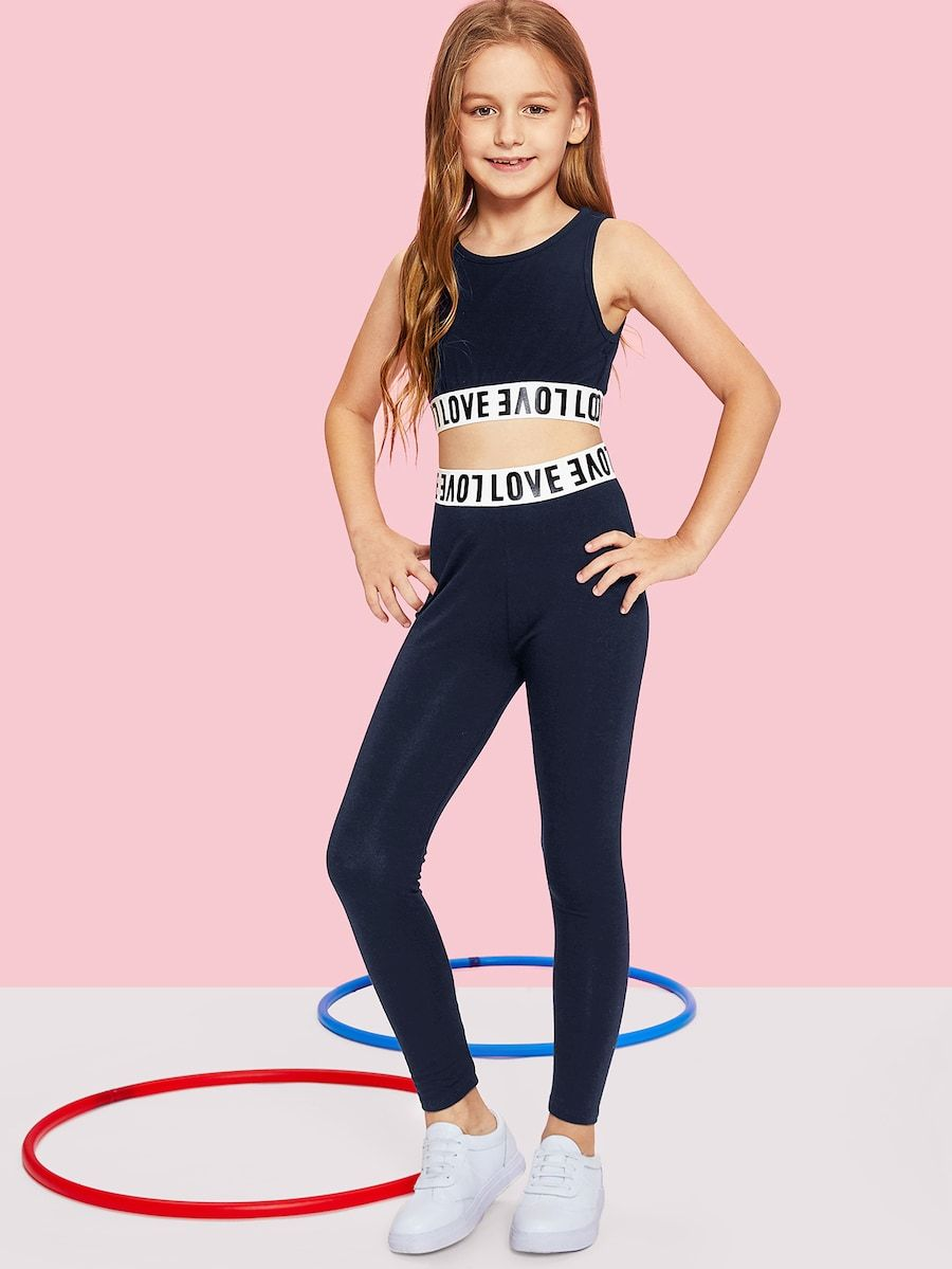 3390f0cd5b Girls Letter Print Crop Top & Pants Set -SheIn(Sheinside)   II KIDS ...