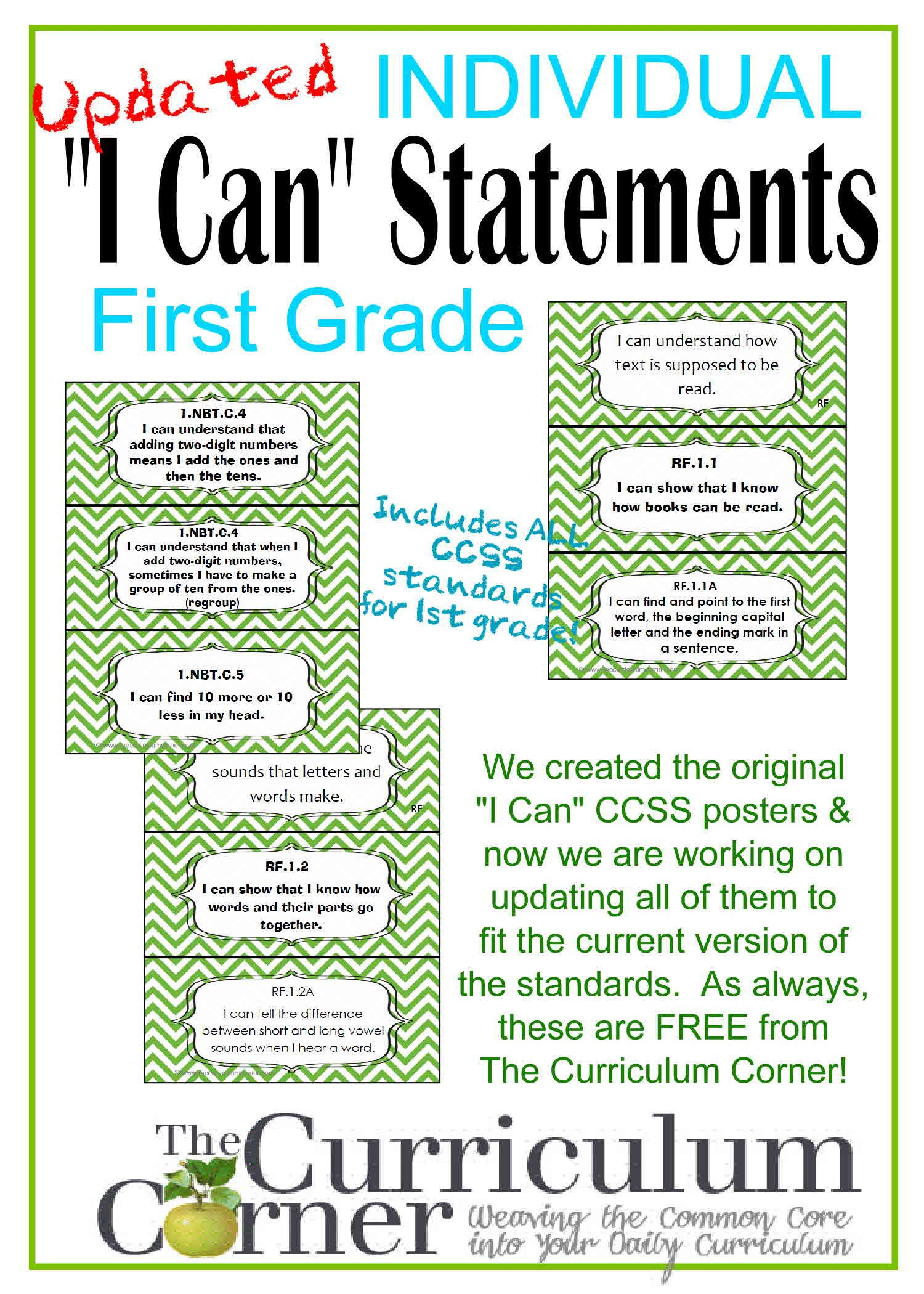 Updated I Can Ccss Statements For Ccss 1st Grade 3 Per