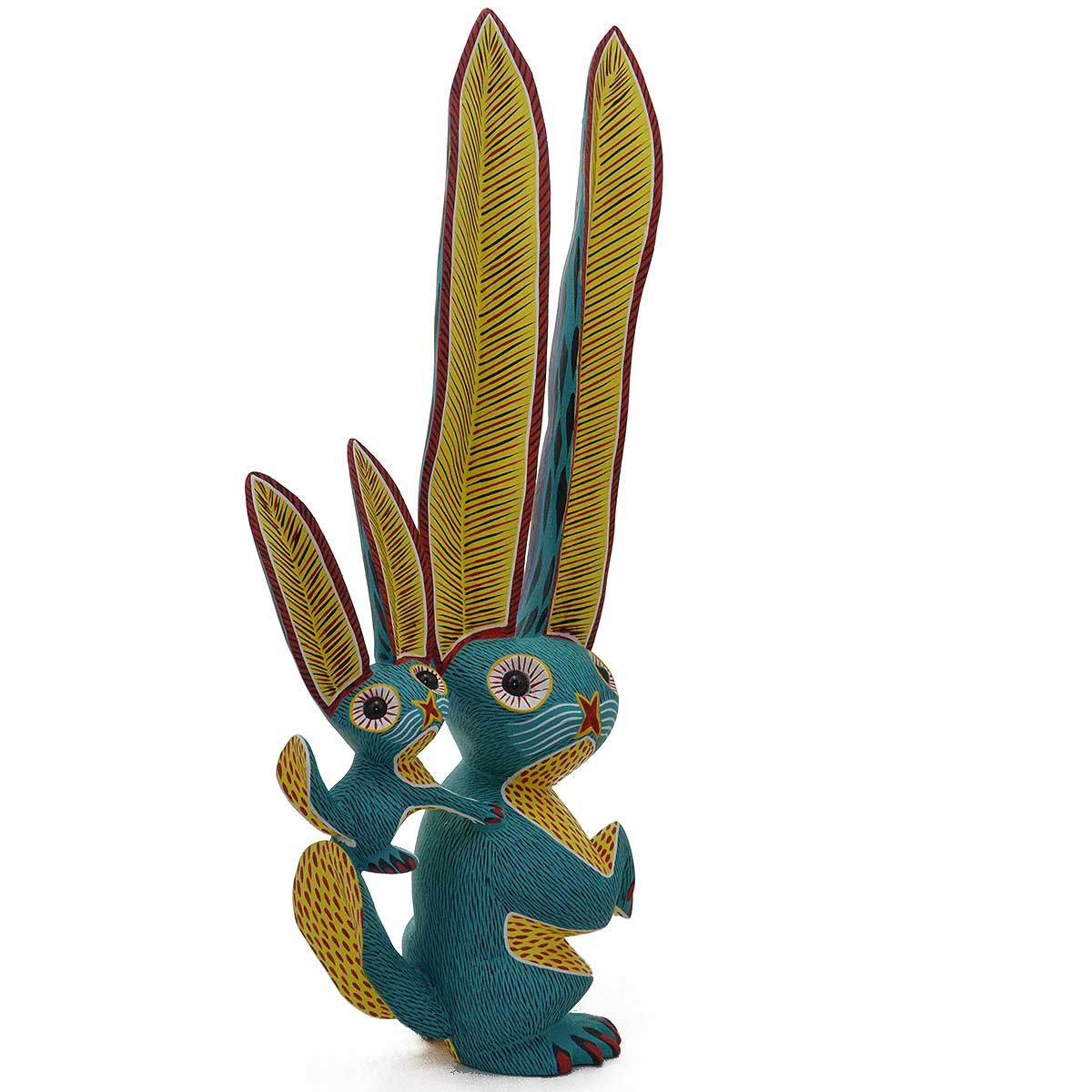 Arsenio morales very large green rabbit and baby alebrijes