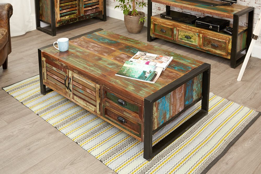 Bon Java Industrial Four Door Four Drawer Large Coffee Table