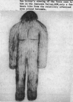 'Yowie' by Rex Gilroy. Sighted: Jamieson Valley, NSW..
