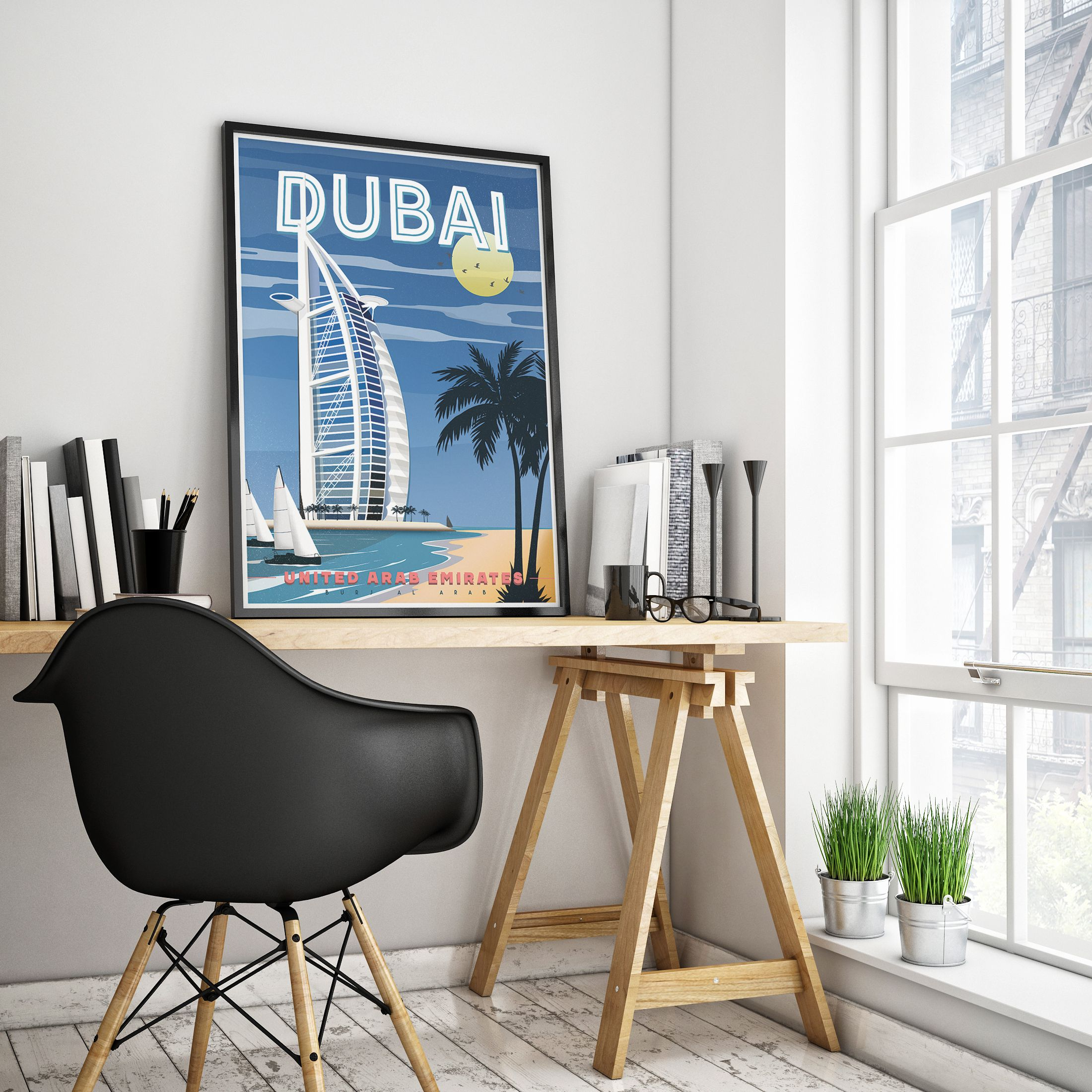 Dubai Print, Travel Poster, Retro Poster, Dubai Poster, City Print ...