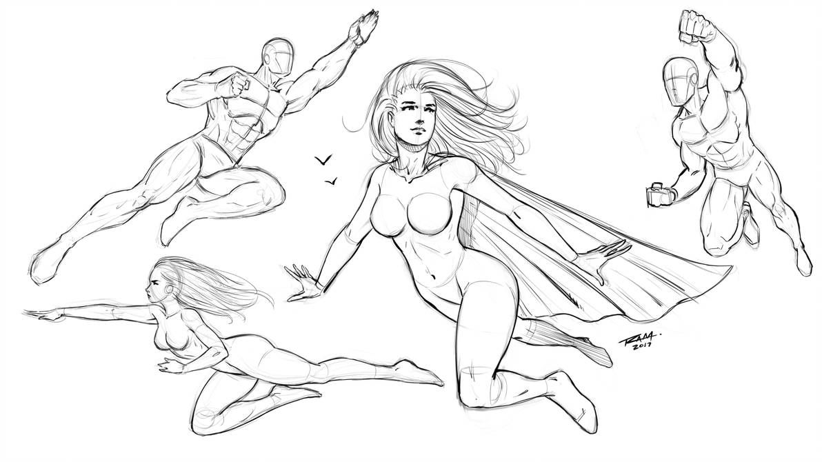 Flying Poses Comic Style By Robertmarzullo Comic Drawing Superhero Sketches Comic Styles