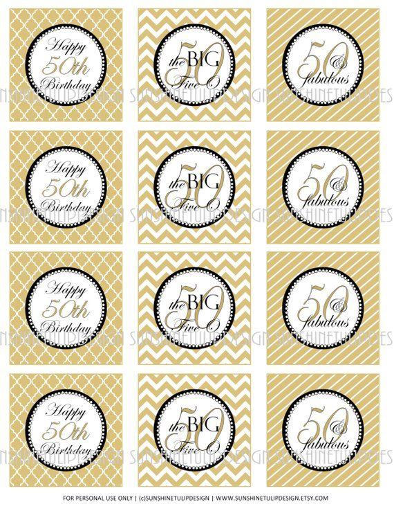 50th Birthday Gold Printable Cupcake Toppers Sticker Labels And Gift Tags By SUNSHINETULIPDESIGN