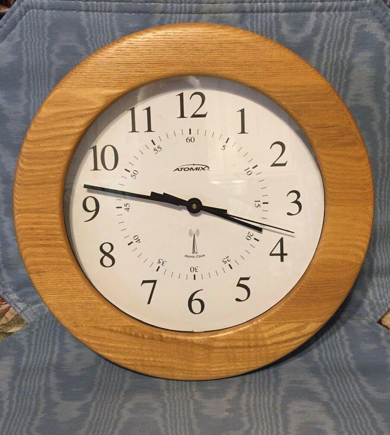 Vintage Atomix Wall Clock 12 Circular X 2 Oak Etsy In 2020 Wall Clock Atomic Wall Clock Clock