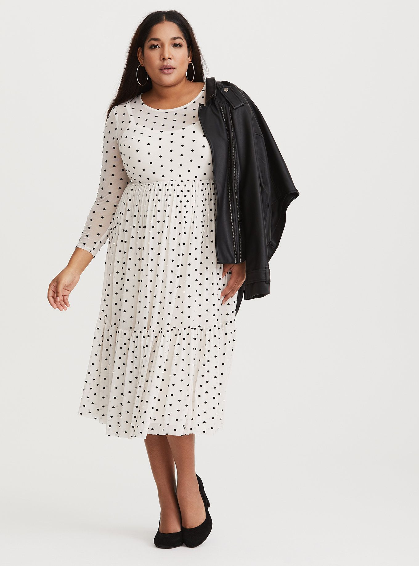 58ecd24493f3 Ivory Polka Dot Mesh Midi Dress | Street style casual | Black polka ...