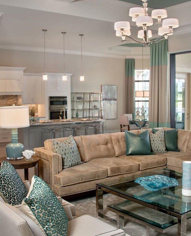 Beautiful Living Room Decor Tan And Aqua Color Living Room
