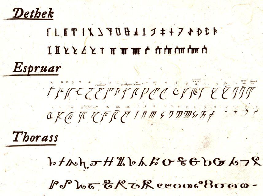 Forgotten Realms alphabet - Dethek = dwarven, Espruar = moon elf