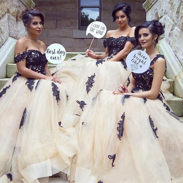 Find More Bridesmaid Dresses Information about Modest 2016 Champagne Tulle Black Lace Bridesmaid Dresses Cheap Off Shoulder Applique Maid of Honor Wedding Party Gowns B68,High Quality dress my girl 5,China dress steel Suppliers, Cheap dress manual from Romantic Love Wedding Dress Co.,Ltd on Aliexpress.com